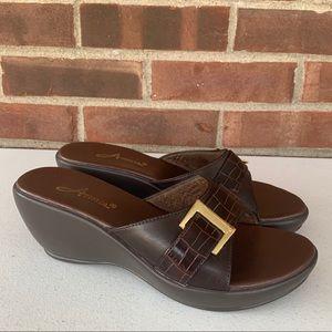 Annie brown slip on wedge sandals
